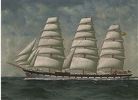 the clan macpherson under full sail passing an iceberg by oliver godfrey
