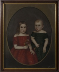 portrait of a young brother and sister, the boy holding a small trumpet, the girl a bunch of posies by horace bundy