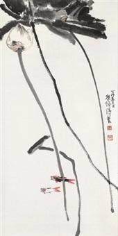 荷趣图 镜片 设色纸本 by cheng shifa