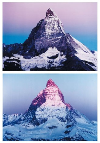 flip a mountain purple version diptych by marijke van warmerdam