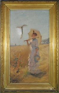 elégante à l'ombrelle by eugène verdyen