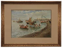 pescatori a napoli (fishermen at naples) by romolo leone