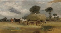 hay making (+ a horse study, verso) by arthur james stark