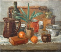 still life of oranges, jugs and bottles on a table by kalman kemeny