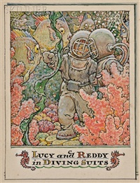 lucy and reddy in diving suits by john rae