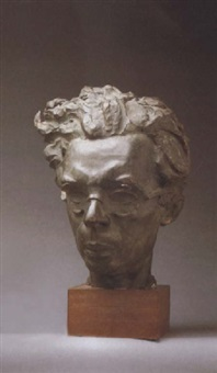 portrait bust of aldous huxley by sava botzaris