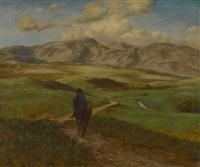 landschaft mit reiter by hans thoma