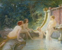 young bathers in a fountain by albert auguste fourié