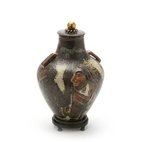 lid jar modelled with religious motifs and two small handles by knud andersen and jais nielsen