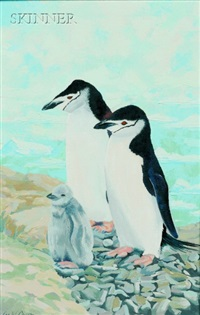chin strap penguins (+ deep freeze incubation; 2 works) by lee winslow court
