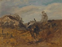 reitender beduine in wüstenlandschaft by adolf schreyer