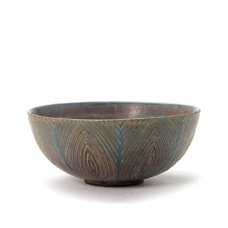small bowl, exterior modelled with rifled pattern by axel johann salto