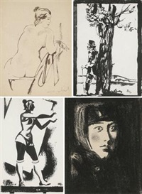 小稿 小稿 女运动员 头像 (4 works; various sizes) by andrei andreevich mylnikov