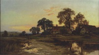 cottage landscape at dusk with figures by david hillyer