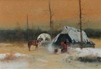 indian at the camp by julius holzmueller