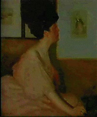 a lady in pink admiring a picture by george charles aid