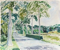 avenue with green trees by lars swane