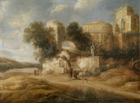 reisende vor antiken ruinen by charles cornelisz de hooch