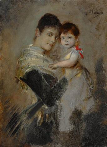 marchesa di montagliari mit ihrem kind by franz seraph von lenbach