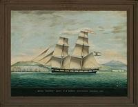 """brigg """"wittow"""" entering smyrna 1861 by raffaele corsini"""