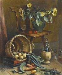 stillleben mit gemüsekorb, sonnenblumen und chiantiflasche by alfred anklin