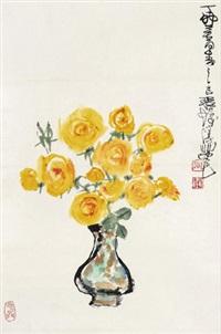 瓶花 镜心 设色纸本 by cheng shifa
