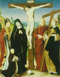 christus am kreuz, darunter der heilige augustinus und die heilige kaiserin helena by jan (the master of cappenberg) bagaert