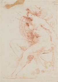 a winged female nude by giuseppe cades