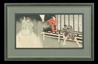 a collection of two woodblock triptychs, oban tate-e by toyohara chikanobu