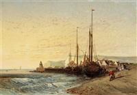 fischerboote am strand (kreidefelsen von dover) by jules achille noel