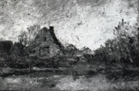 landschaft mit weiher und gehöft by rudolf hoeckner