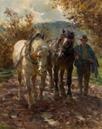 campesino con caballos by ventura alvarez sala