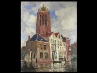 stadtansicht von bordrecht kathedralturm überragt eine häus- erzeile an der kanalgracht by olivier anard