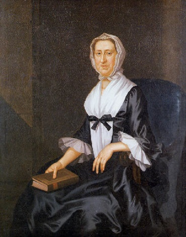 portrait of mrs philip livingston seated with book by john wollaston