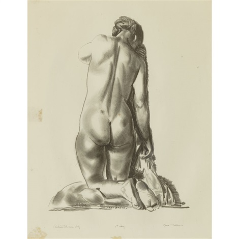 nude study woman kneeling on a pillow by george wesley bellows
