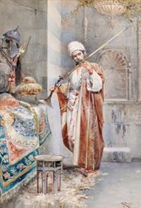 in der waffenkammer, ein araber ein gewehr prüfend by giovanni raggi