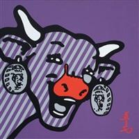 vache sur fond violet by jean-michel gnidzaz