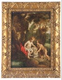 niño jesus con san juanito en un paisaje by victor wolfvoet the younger