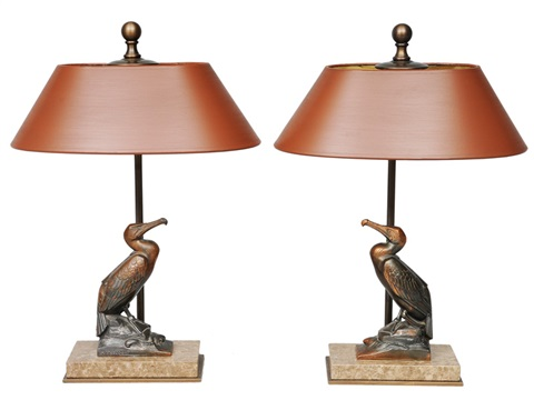 a pair of art déco figures cormorant as table lamps pair by maurice frecourt