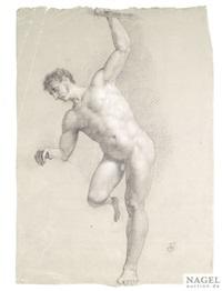 studie eines männlichen aktes, auf einem bein stehend by johann friedrich overbeck