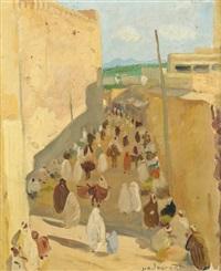 rue animée au maroc by jean emile laurent