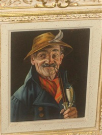 portraits depicting men smoking pipes (+ another; pair) by inge wolfle