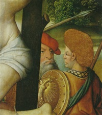 ein teil des rechten schächers, ein männerkopf und eine männliche halbfigur im profil by jan (the master of cappenberg) bagaert