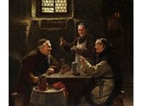 drei mönche bei der vesper-mahlzeit by adolf humborg