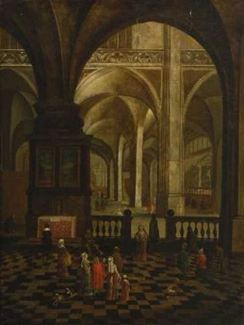 kircheninterieur mit figurenstaffage by peeter neeffs the elder