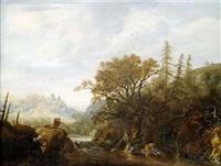 felsige flusslandschaft mit einem geflügeljäger by catharina van knibbergen
