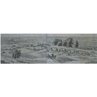 a panoramic view in the betuwe, looking towards nijmegen (on 2 joined sheets) by joris van der haagen
