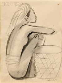 seated woman with a basket by miguel covarrubias