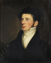 a head and shoulders portrait of a young gentleman wearing a white shirt and black jacket by william huggins