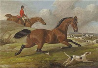 a view from the stables (+ 3 others; 4 works) by samuel henry alken